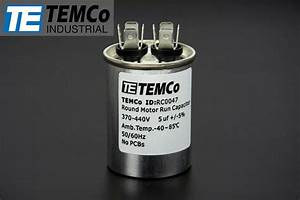 Temco 5 Mfd Uf Run Capacitor 370  440 Vac Volts Ac Motor