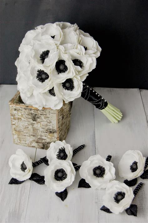 anemone paper flower bridal bouquet black  white
