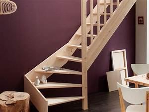 Escalier Double Quart Tournant Pas Cher : escalier leroy merlin quart tournant en bois naturel ~ Premium-room.com Idées de Décoration