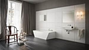 esthetique et moderne une salle de bains en corianr With carrelage adhesif salle de bain avec lumiere led esthetique