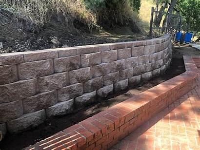 Keystone Block Wall Redwood Blocks Stone Finished