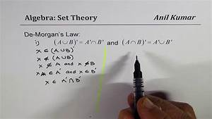 Prove De Morgan U0026 39 S Law In Set Theory Complement Of Union Is