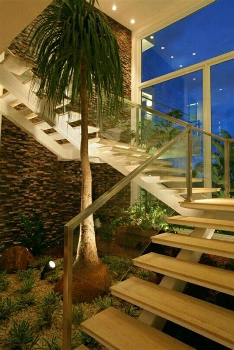 beautiful indoor plants    stairs home design  interior