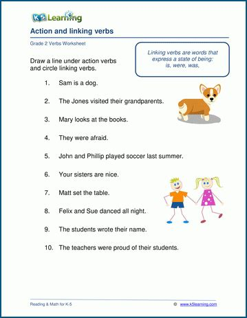 linking verbs worksheets  learning