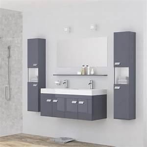 meuble double vasque gris achat vente pas cher With salle de bain design avec ensemble salle de bain 2 vasques