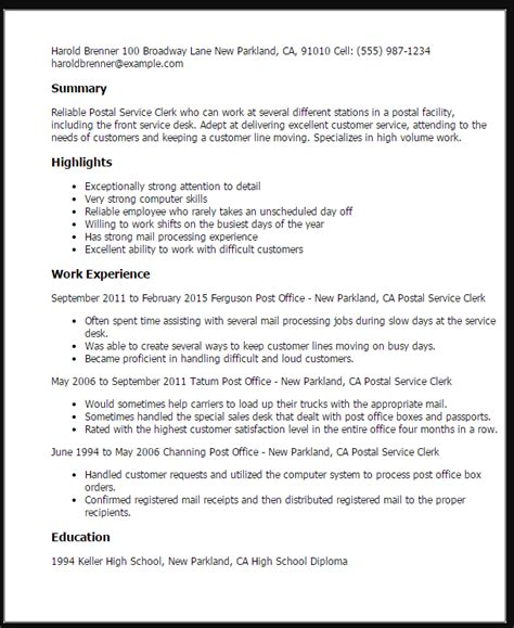 Post Resume by Post Office Worker Resume Sle Ipasphoto