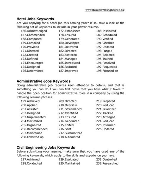 Keywords In A Resume by Keywords For Resume
