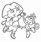 Dora Coloring Explorer Pages Printable Boots sketch template