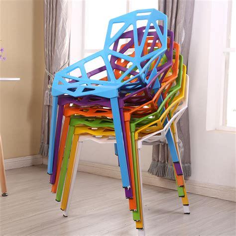 modern geometric shape hollow  cheap indoor plastic metal leg dining chair buy high quality