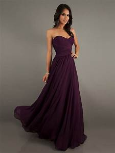 Eggplant Colored Chiffon Sweetheart Floor-Length Dress ...