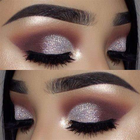 Makeup Silver Glitter Muave Matte Dramatic Eye Look