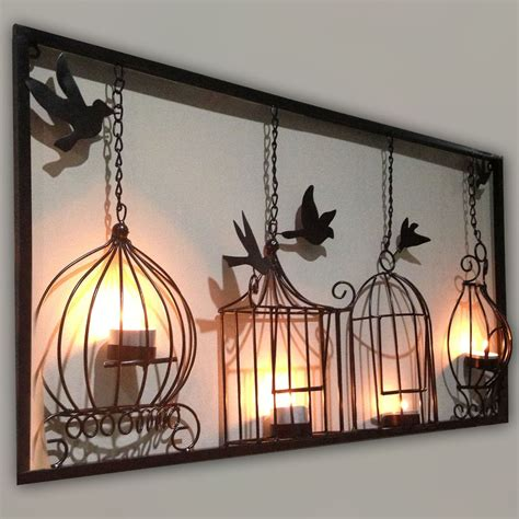 Home Interior Wall Hangings Birdcage Tea Light Wall Metal Wall Hanging Candle Holder Black 3d Bird Cage Ebay