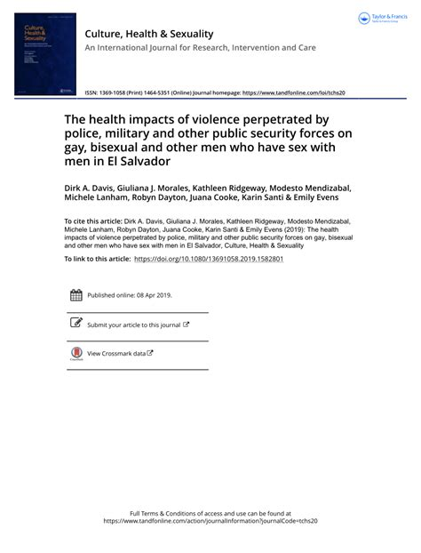 Pdf The Health Impacts Of Violence Perpetrated By Police