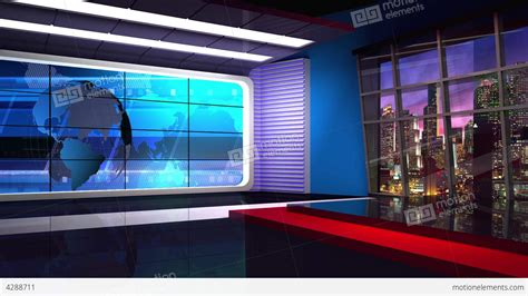 news tv studio set  virtual background loop stock