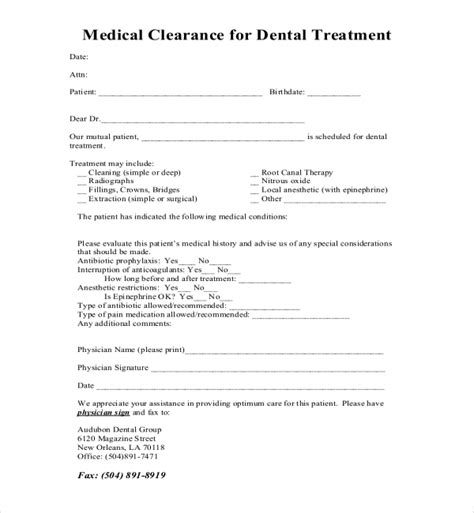 sample medical clearance forms   word excel