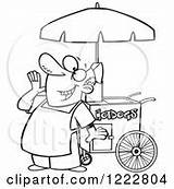 Dog Clipart Cart Vendor Happy Coloring Shouting Royalty Template Pages Toonaday Vector Illustrations sketch template