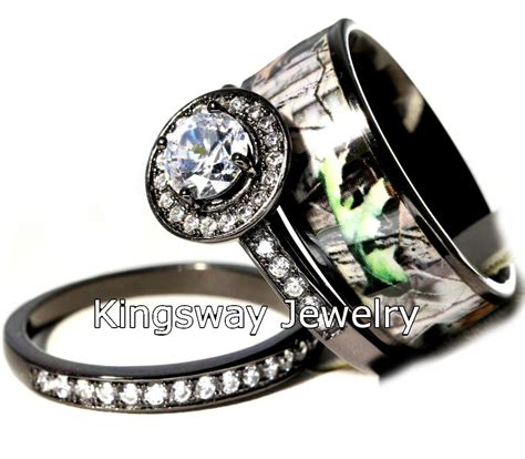 hers 3 piece titanium camo 925 sterling silver engagement wedding rings ebay
