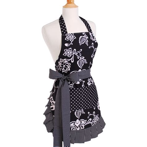 aprons for flirty aprons women s apron in sassy black reviews wayfair