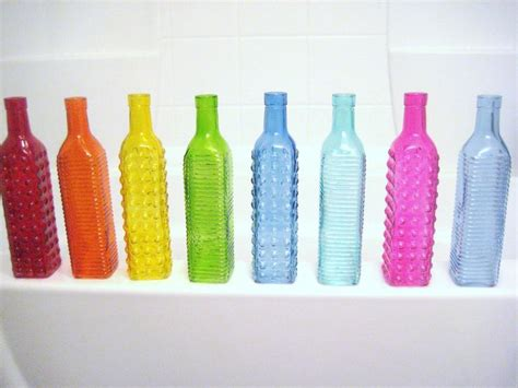 Teal Colored Vases by Colorful Glass Bottles Orange Yellow Green Blue