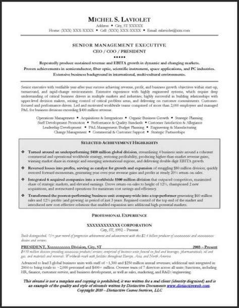 Ceo Resume Writer by Resume Sle For A Ceo