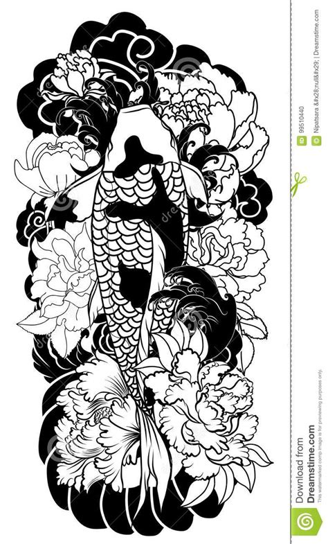 Beautiful, Colorful Koi Carp With Water Splash, Lotus And Peony Flower. Traditional Japanese