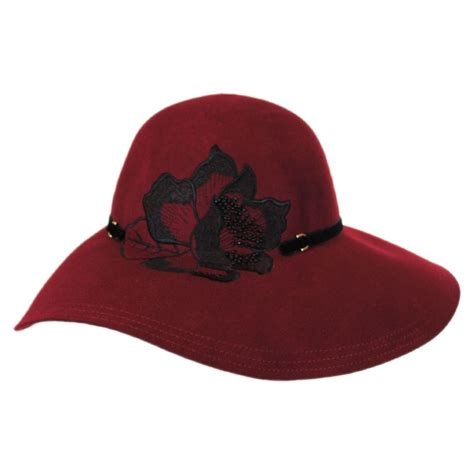 callanan hats embroidered flower wool felt floppy downbrim