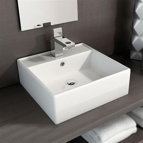 vasque a poser carree vasque 224 poser carr 233 e 40x40 cm plage de robinetterie c 233 ramique costa