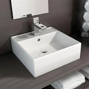 vasque a poser carree 40x40 cm plage de robinetterie With vasque carrée à poser salle de bain