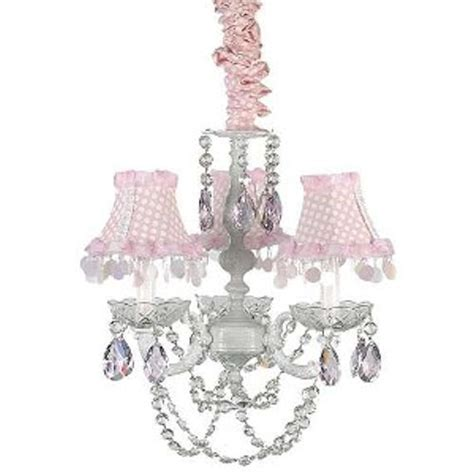3 arm white chandelier with pink tear drop the