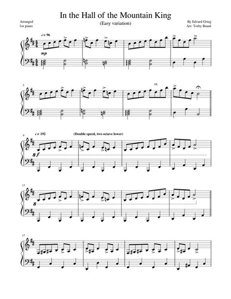 No parts available for this pieces as it is for solo piano. In the Hall of the Mountain King Easy variation Sheet music for Piano (Solo) | Musescore.com