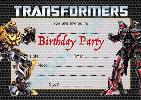 Transformers Party Invitations Template by Transformers Birthday Party Invitations Cimvitation