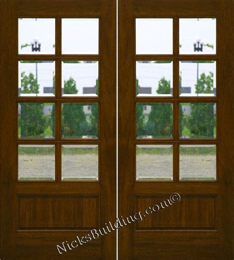 mahogany patio doors  lite french doors clear beveled glass