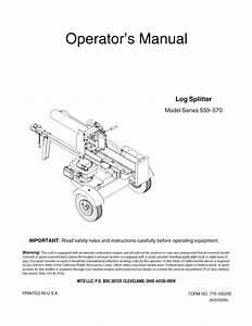 Mtd 24af550c729 User Manual Log Splitter Manuals And