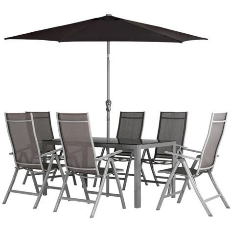 6 Seater Metal Garden Table And Chairs buy malibu 6 seater steel patio set black at argos co uk
