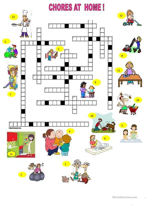 chores  home crosswords worksheet  esl printable