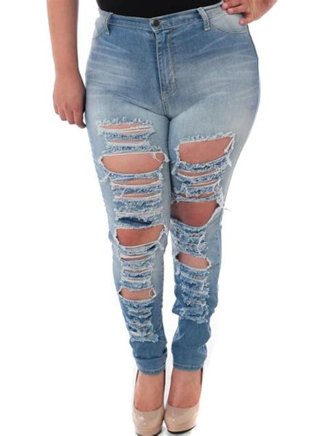 Plus Size Ripped Designer Light Denim Jeans u2013 Plussizefix