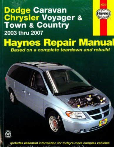 free online auto service manuals 2007 dodge caravan electronic throttle control 2003 2007 dodge caravan chrysler voyager town country haynes repair manual