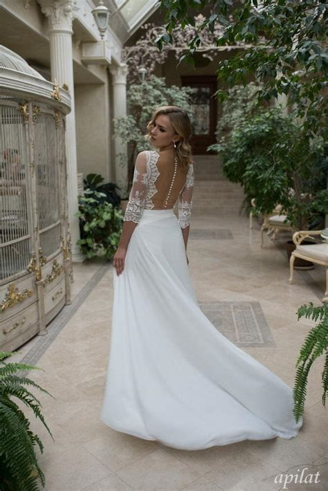 bohemian wedding dress   lace simple wedding dress