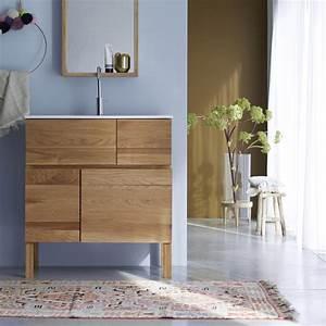 meuble en chne et vasque cramique easy solo vente meubles With support meuble salle de bain