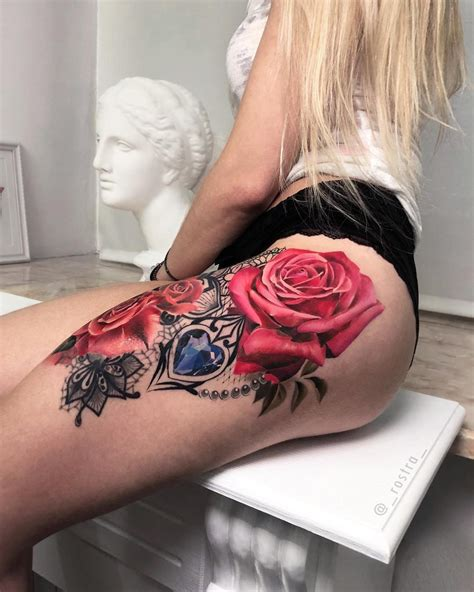 pink roses lace womans thigh piece  tattoo design ideas