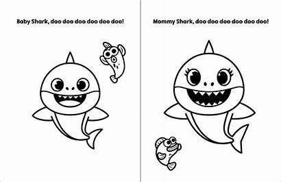 Shark Coloring Pinkfong Clipart Colorir Sheet Desenho