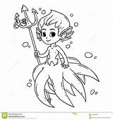 Mermaid Coloring Male Vector Merman Triton Illustration Octopus Fairy Children Isolated Silhouette Clip Illustrations Vectors Drawing Dreamstime Clipart Drawn Template sketch template