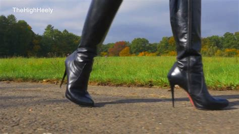walking   black leather stiletto boots youtube