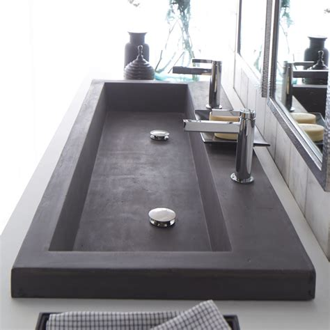 double trough sink bathroom vanity modern trough sink instead of double vanities maybe do
