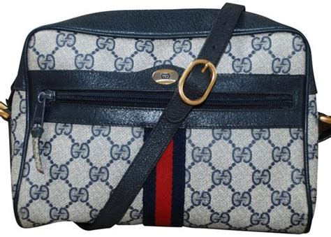 gucci vintage web camera navy gg supreme monogram leather camera blue canvas cross body bag