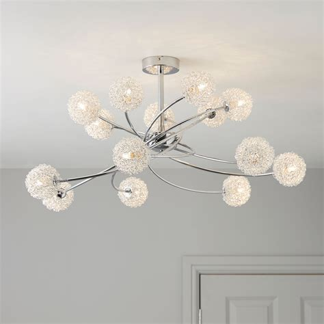 Pallas Chrome Effect 14 Lamp Ceiling Light   Departments