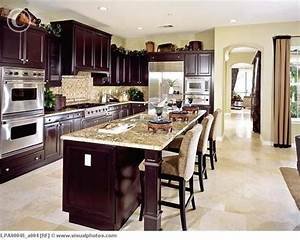 Contemporary kitchen with dark wood cabinets lpa00045 for Kitchens with dark wood cabinets
