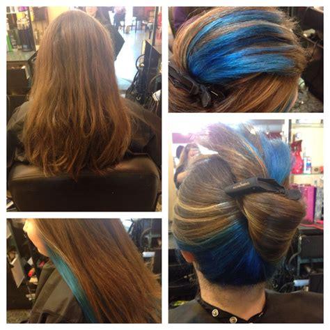 Brown Hair With Mermaid Blue Fantasy Color Underneath Teal