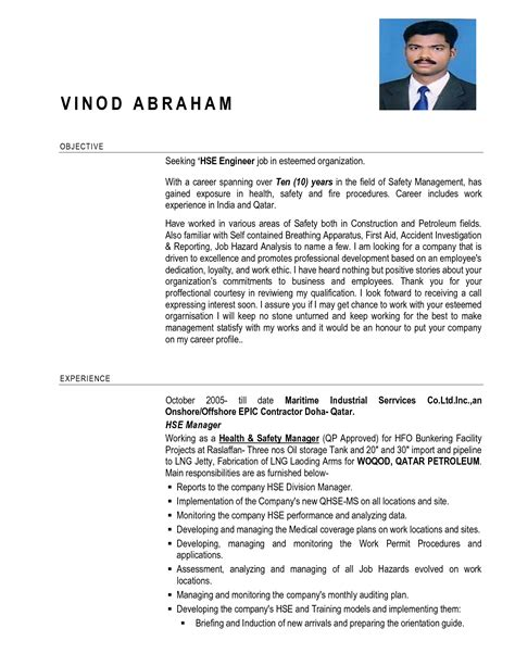 Health And Safety Resume Cover Letter Sles by Resume Tools Resume Badak