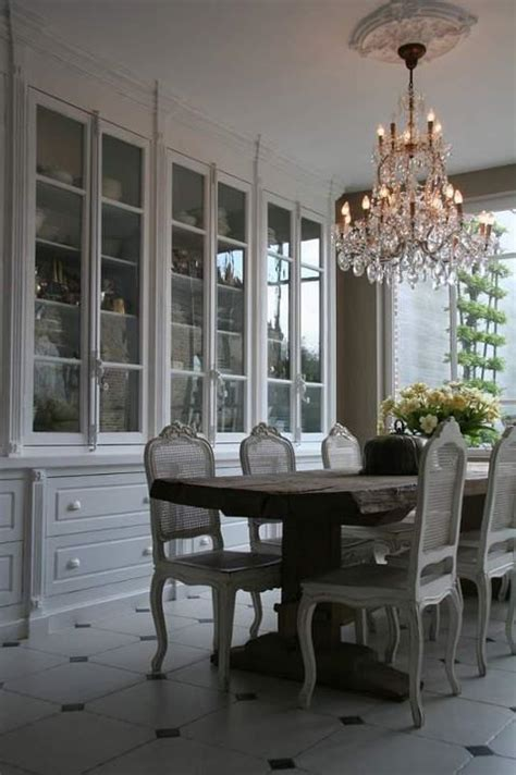 huge built  china cabinet  grayish white tones